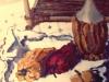 Interno con natura morta - olio su tela 60x50 1968