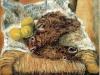 Sedia pesci e limoni - olio su tela 40x50 - 1983