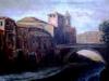 Isola Tiberina - olio su tela 50x60 - 1991