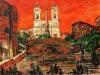 Trinità dei Monti al tramonto - olio su tela 60x80 - 2008