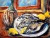 Natura morta con fiasco pesci e limoni -  olio su tela 50x60 - 2000