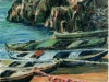 Scogli e barche - olio su tela 50x60 - 2004
