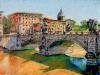 Ponte Vittorio e il Tevere - olio su tela 60x80 - 2014