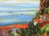 Tetti e fichi d'india sul mare - olio su tela 40x60 - 2015