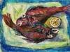 Cartoccio con pesci e limone - t.m. su cartoncino - 30x40