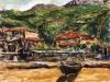 Case colline e barca - t.m. su cartoncino - 30x35