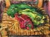 Natura morta con sedia e peperoni - t.m. su cartoncino - 30x40