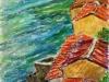 Tetti sul mare - t.m. su cartoncino - 40x30